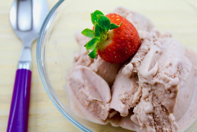 Strawberry Vegan Ice Cream with spoon