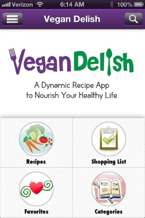 Vegan Delish main screen on the iPhone.