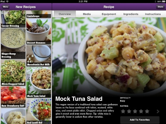 Mock Tuna Salad on Vegan Delish iPad version.