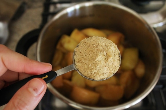 Nutritional yeast going in to my apple pie recipe.