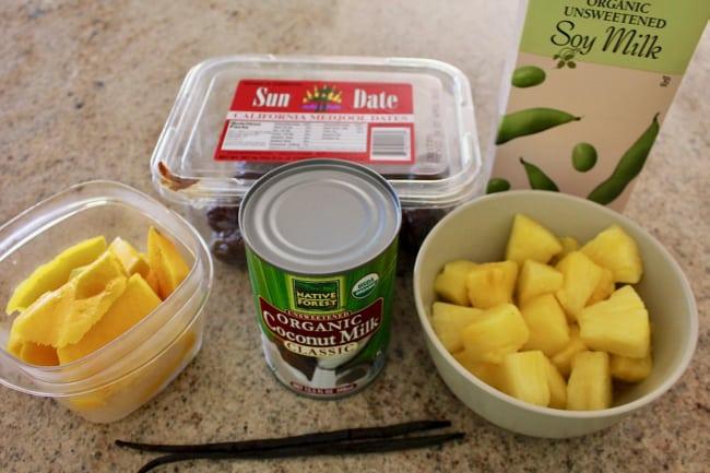 Tropical Island Vegan Ice Cream ingredients, including mango, coconut milk, dates, pineapple, and soy milk