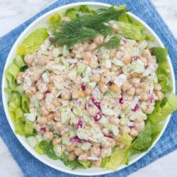 vegan tuna salad on blue linen