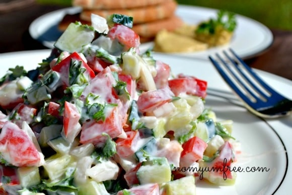 Cucumber and Sweet Red Pepper Salad from Nom Yum Free