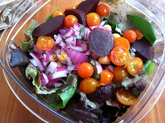 Colorful salad on the go from Carrie on Living | www.cleaneatingkitchen.com