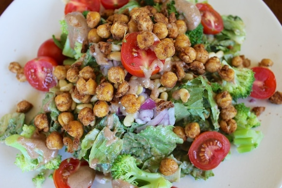 Baked Chickpea Croutons from Carrie on Living | www.cleaneatingkitchen.com