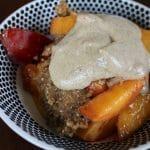 Peach pie with cashew sauce.