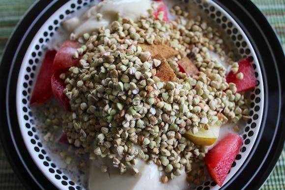 Fruit and soy yogurt with buckwheat groats.
