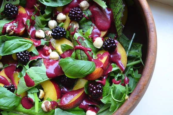 Nectarine Salad with Blackberry Dressing from Coconut and Berries