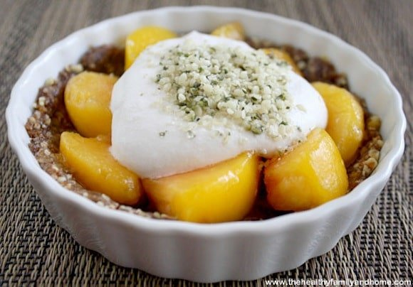 Raw Peach Tart from The Healthy Family and Home