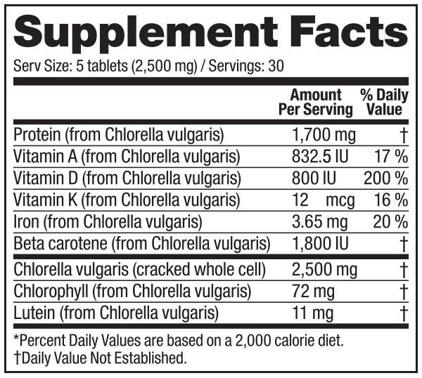 Vega Chlorella supplement facts label
