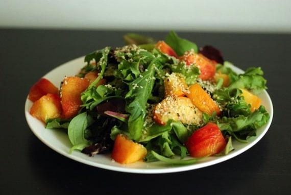 Peach, Basil & Hemp Salad with Citrus Vinaigrette from The Taste Space