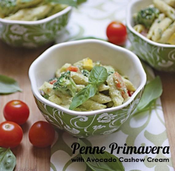 Penne Primavera with Avocado Cashew Cream from Vegan Heritage Press
