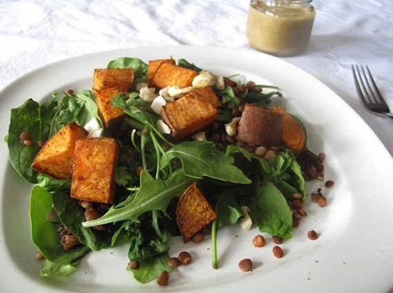 Sweet Potato and Lentil Salad with Coconut Curry Dressing from The Veggie Nook
