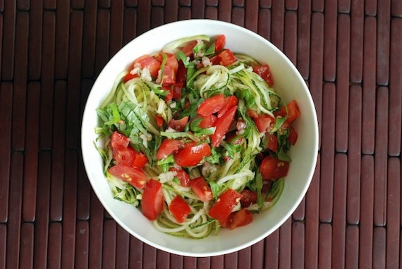 Tomato-Basil Zucchini Noodle Salad from The Taste Space