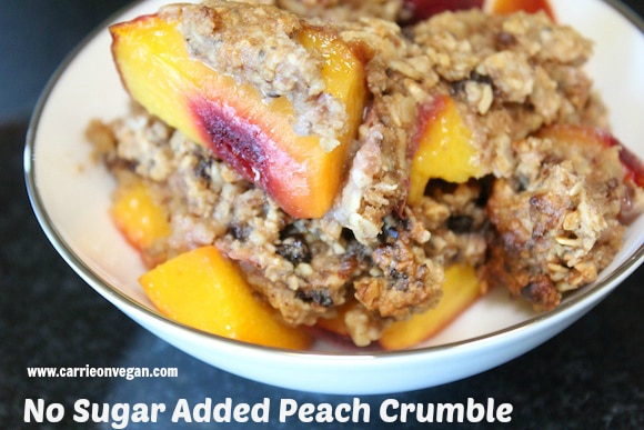 Healthy Vegan Peach Cobbler with no sugar added