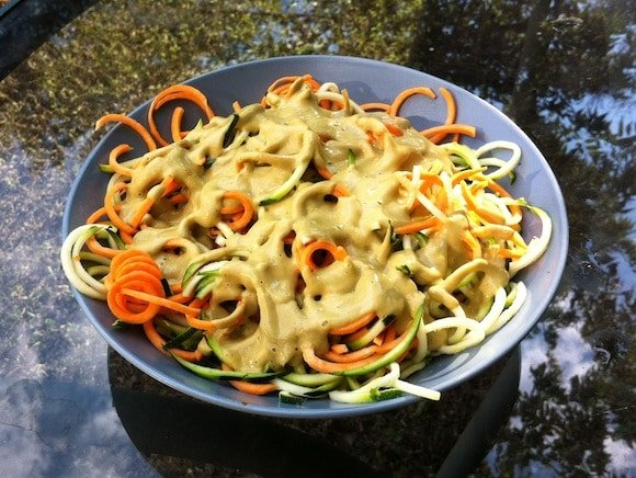 Cheezy Walnut Sauce and Sweet Potato Pasta from My Healthy Chef