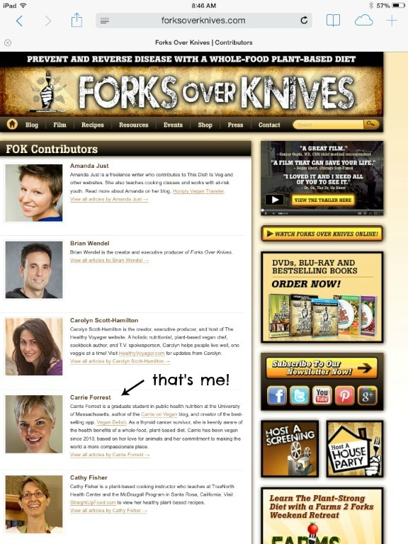 Forks Over Knives contributor page