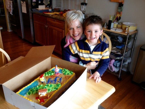 Carrie with nephew Sam on his 5th birthday