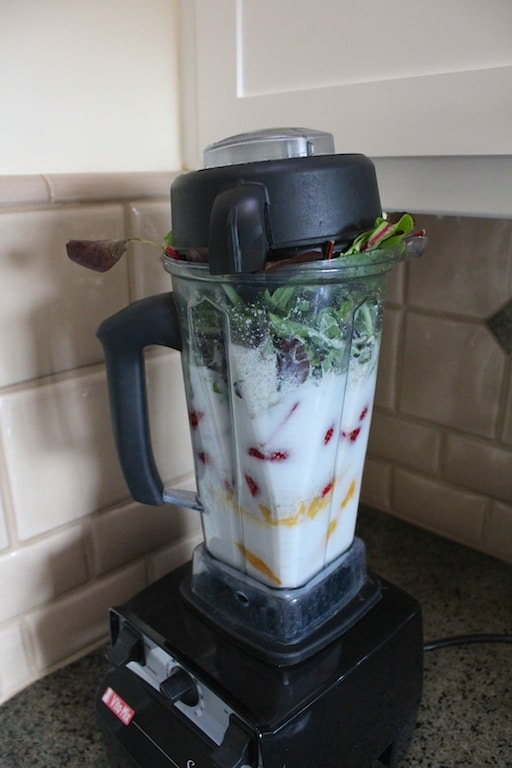 Blender stuffed to the top with greens.