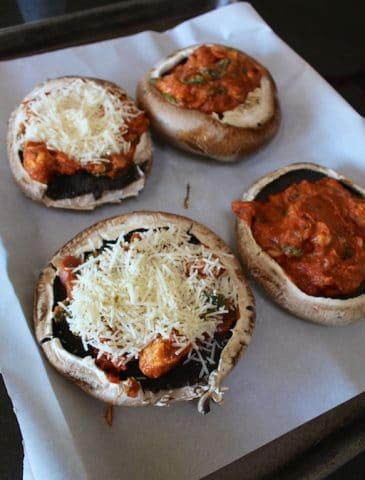 Portobello Pizzas with Tempeh Red Sauce