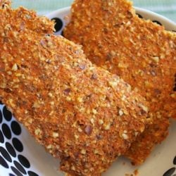 Carrot pulp crackers in a bowl