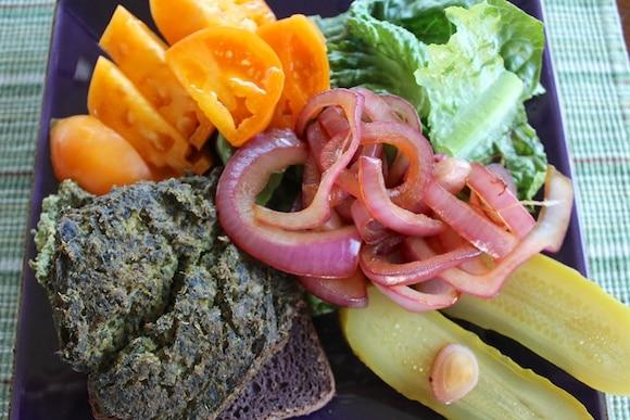Tofu burger and veggies for dinner