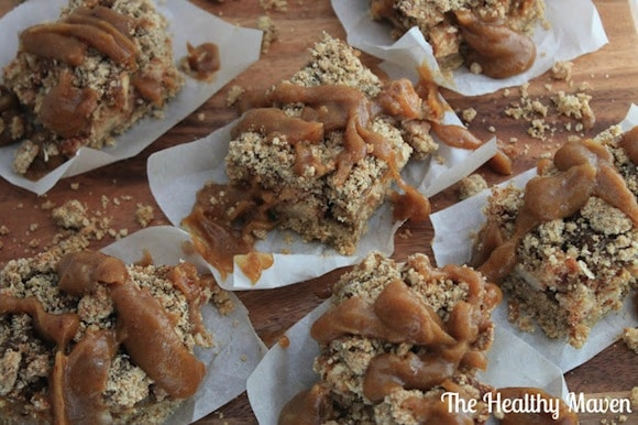 Salted Caramel Apple Crumb Bars from The Healthy Maven