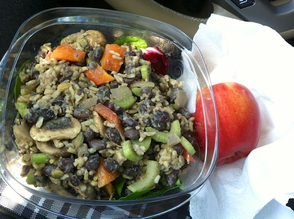 Brown rice and black bean salad and apple
