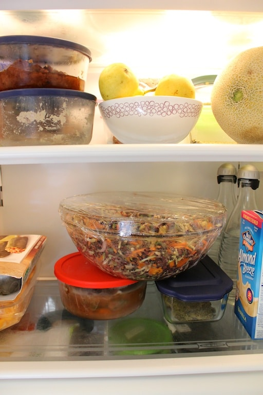Salad takes over the fridge