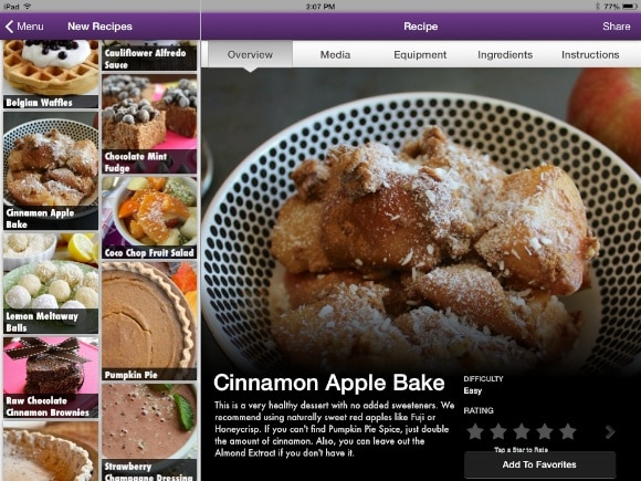 iPad version of Vegan Delish Cinnamon Apple Bake