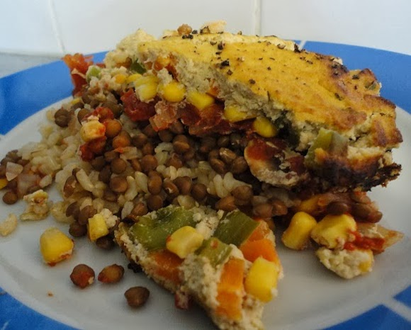 Veggie & Rice Bake with Cauli-Sauce Topping from Vegans Eat Yummy Food Too
