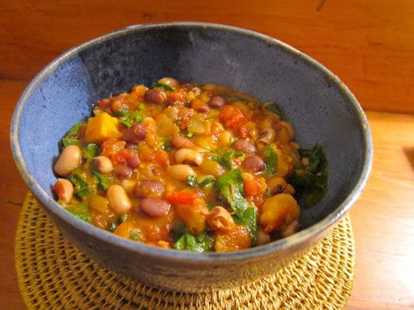 Black-Eyed Pea and Sweet Potato Chili from Lymie Eating Coconut