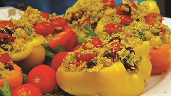 Chickpeas and Quinoa in Sweet Pepper Boats