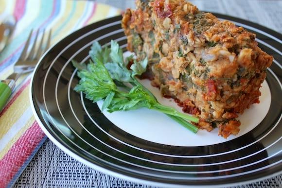 Vegan Holiday Lentil Oat Loaf