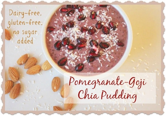 Pomegranate-Goji Chia Pudding from Carrie on Living | www.cleaneatingkitchen.com