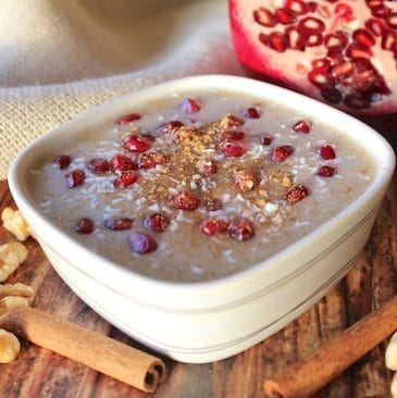 Amaranth-Banana Porridge with pomegranates