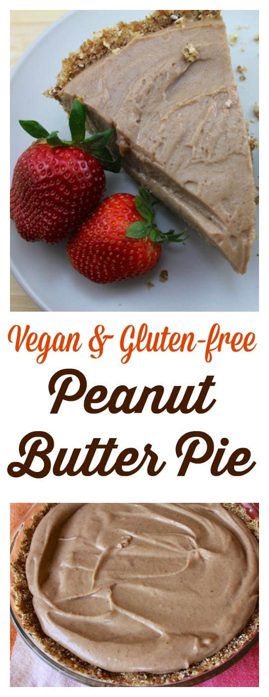 Vegan & Gluten-free Peanut Butter Pie that requires no baking and has no added sugars. This is a healthy and delicious recipe.