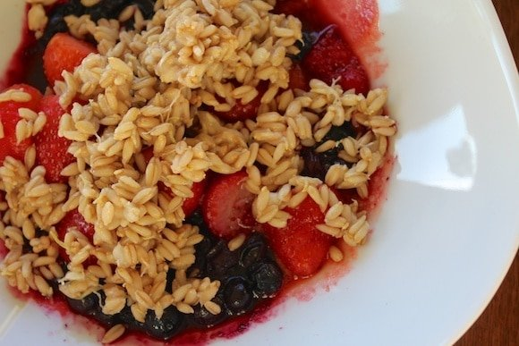 Sprouted Oat Groat Cereal with berries