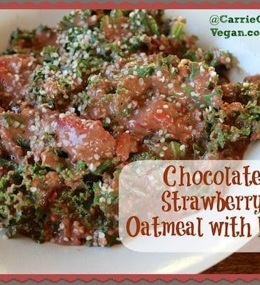 Chocolate Strawberry Oatmeal with Kale