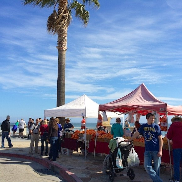 Beachside farmers' market.