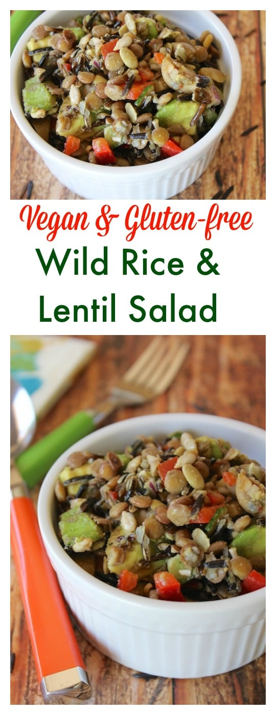 Vegan & Gluten-free Wild Rice & Lentil Salad that is also oil-free and nutritarian