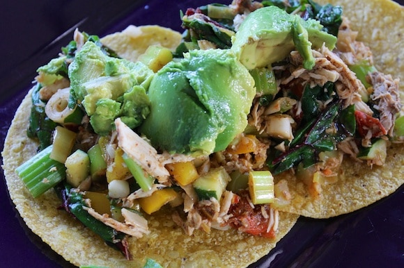 Shredded chicken tacos from Carrie on Living | www.cleaneatingkitchen.com