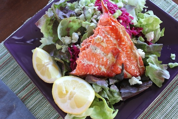 Wild salmon salad from Carrie on Living | www.cleaneatingkitchen.com