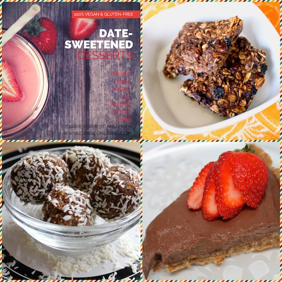 Date Desserts collage from Carrie on Living | www.cleaneatingkitchen.com