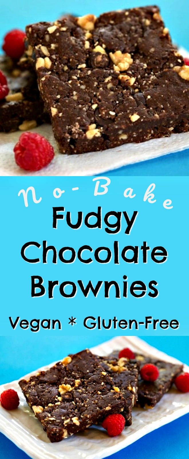 No-Bake Fudge Brownies that are vegan and gluten-free. These are great for a summer treat when it's too hot to bake.   Vegan brownies, paleo brownies, no-bake brownies, gluten free brownies, grain free brownies.