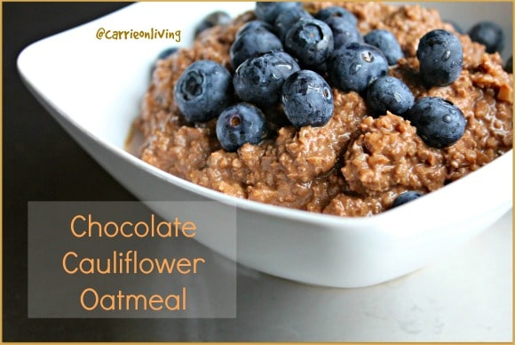 Chocolate Cauliflower Oatmeal for a twist on regular oatmeal. This is a grain-free version instead of oats. Perfect for paleo diets.