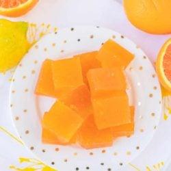 orange jello slices on a plate