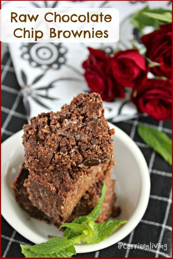 Raw Chocolate Chip Brownies (grain-free, paleo, vegan