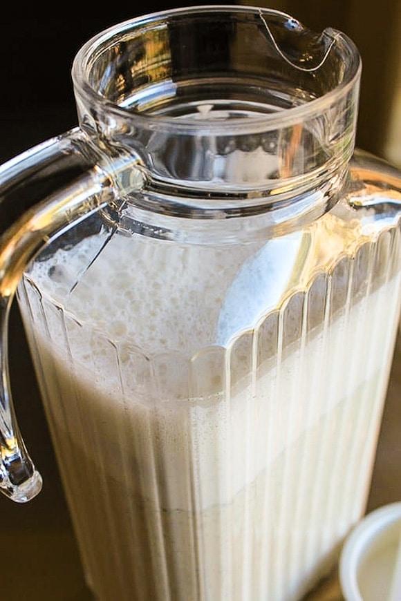 hemp milk in glass jar