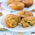 gluten free cinnamon flax muffins on plates